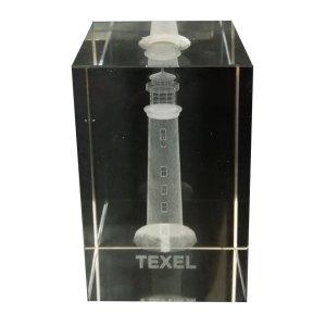 3D Kristal Blok met Vuurtoren van Texel