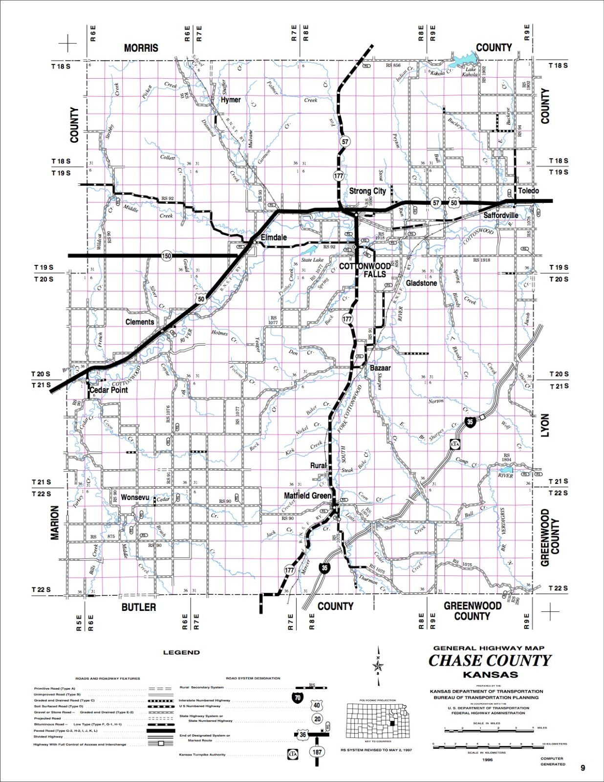 Chase County Driving Tour Map