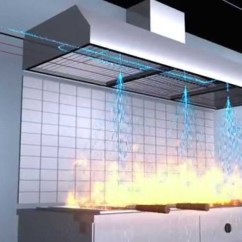 Residential Kitchen Hood Fire Suppression System White Leather Chairs - Chase