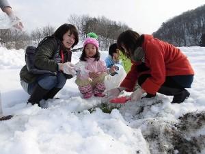 さかだに雪まつり 大きいニンジンをゲットした親子/どこまでもアマチュア