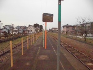 越前東郷駅を見てきました。 プラットホームに設置されたミラー/どこまでもアマチュア