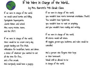 If We Were in Charge of the World... by Mrs. Barrett's 4th Grade Class