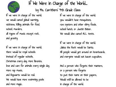 If We Were in Charge of the World... by Ms. Carrithers' 4th Grade Class