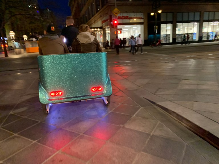 The back of a pedicab on the 16th Street Mall.