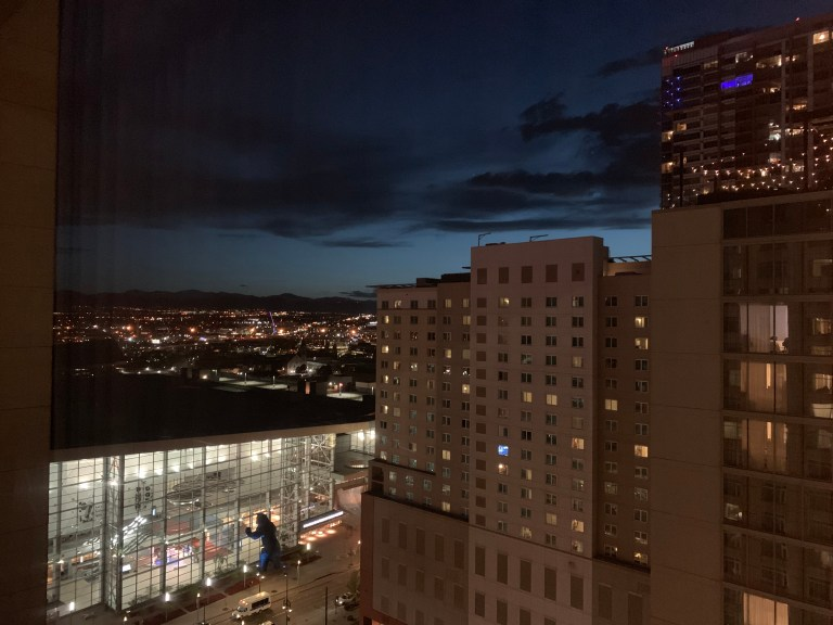 The view from our room of the Colorado Convention Center.
