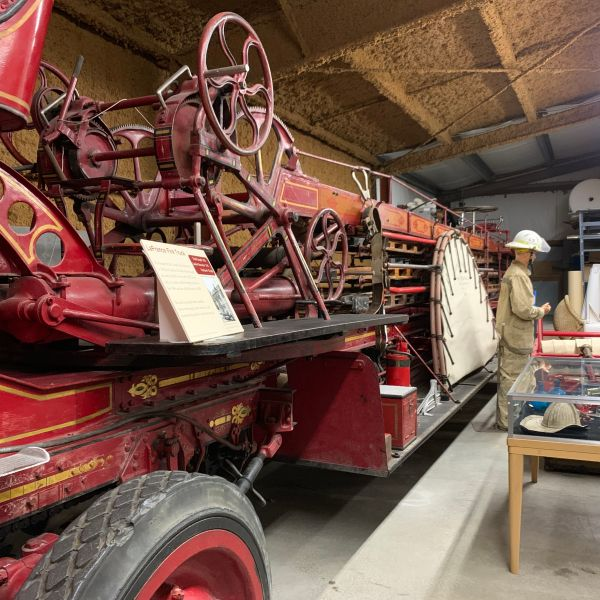 A long fire truck at the Carbon County Museum in Wyoming.