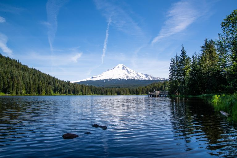 Mt Hood's reflection in Trillium Lake.