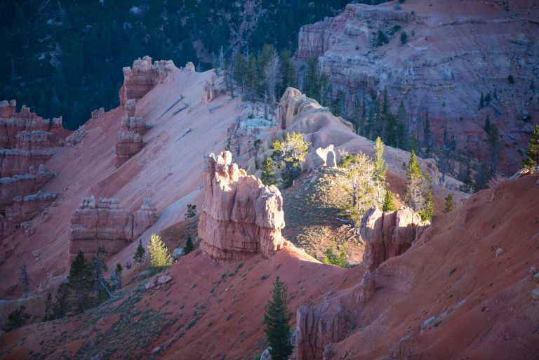 Sunlight making the hoodoos glow.
