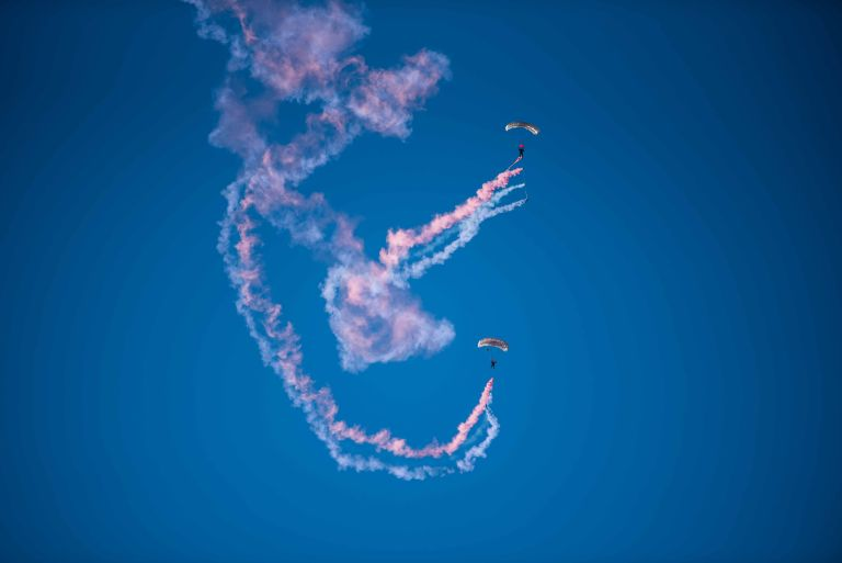 Aerobatics and smoke trails with the Fastrax skydivers.