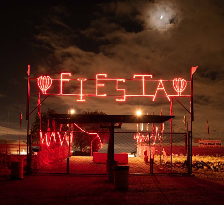 The moon and the Fiesta sign.