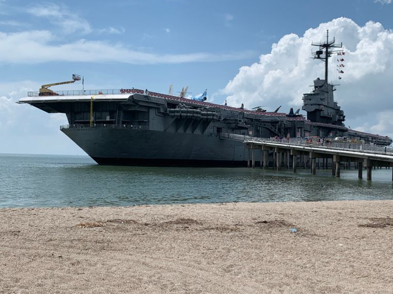 Aircraft carrier USS Lexington from the side view.