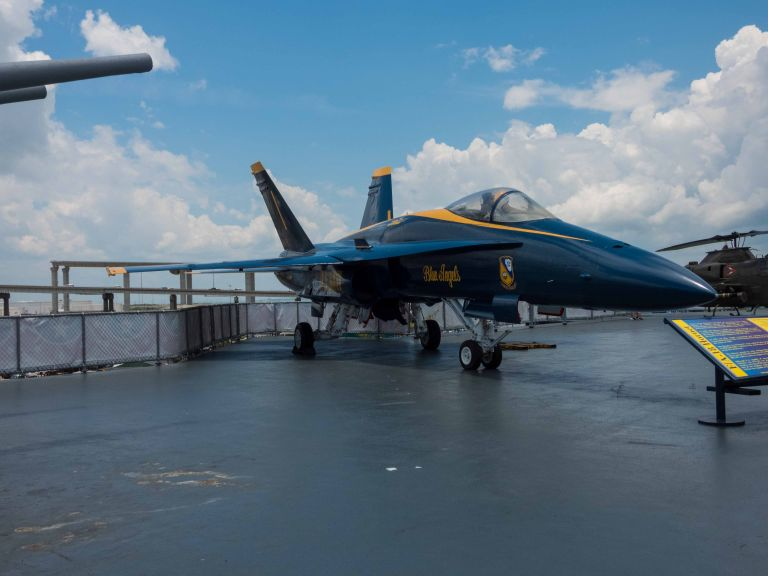 Side view of the F/A-18 Hornet jet, with the Blue Angels markings.