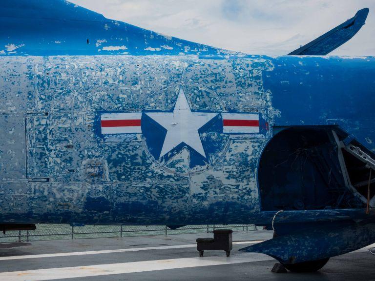 Close up of fadcing paint on the KA-3B Skywarrior.