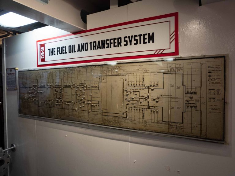 A map of the fuel oil and transfer system on the ship.