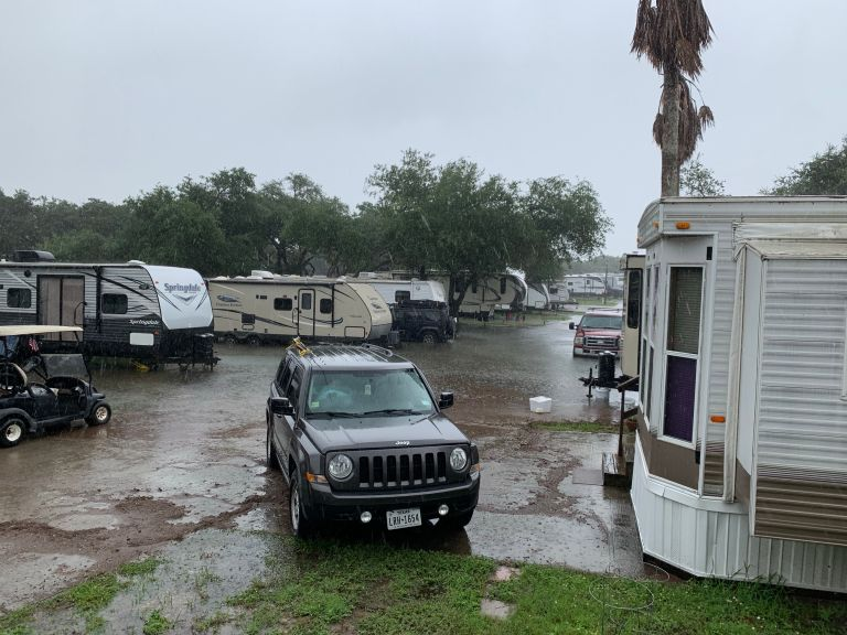 Rain collection in RV park.