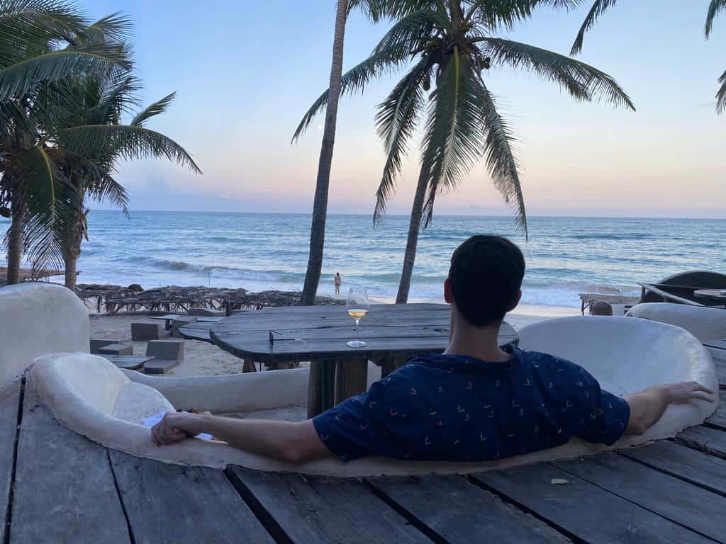 Chase at the best restaurant in Tulum Beach
