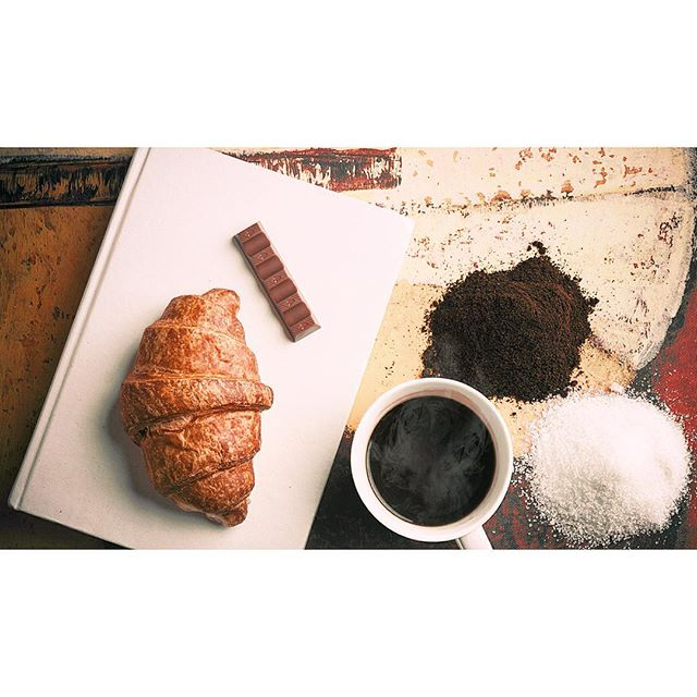 Creative breakfast, brioche, kinder chocolate, coffee