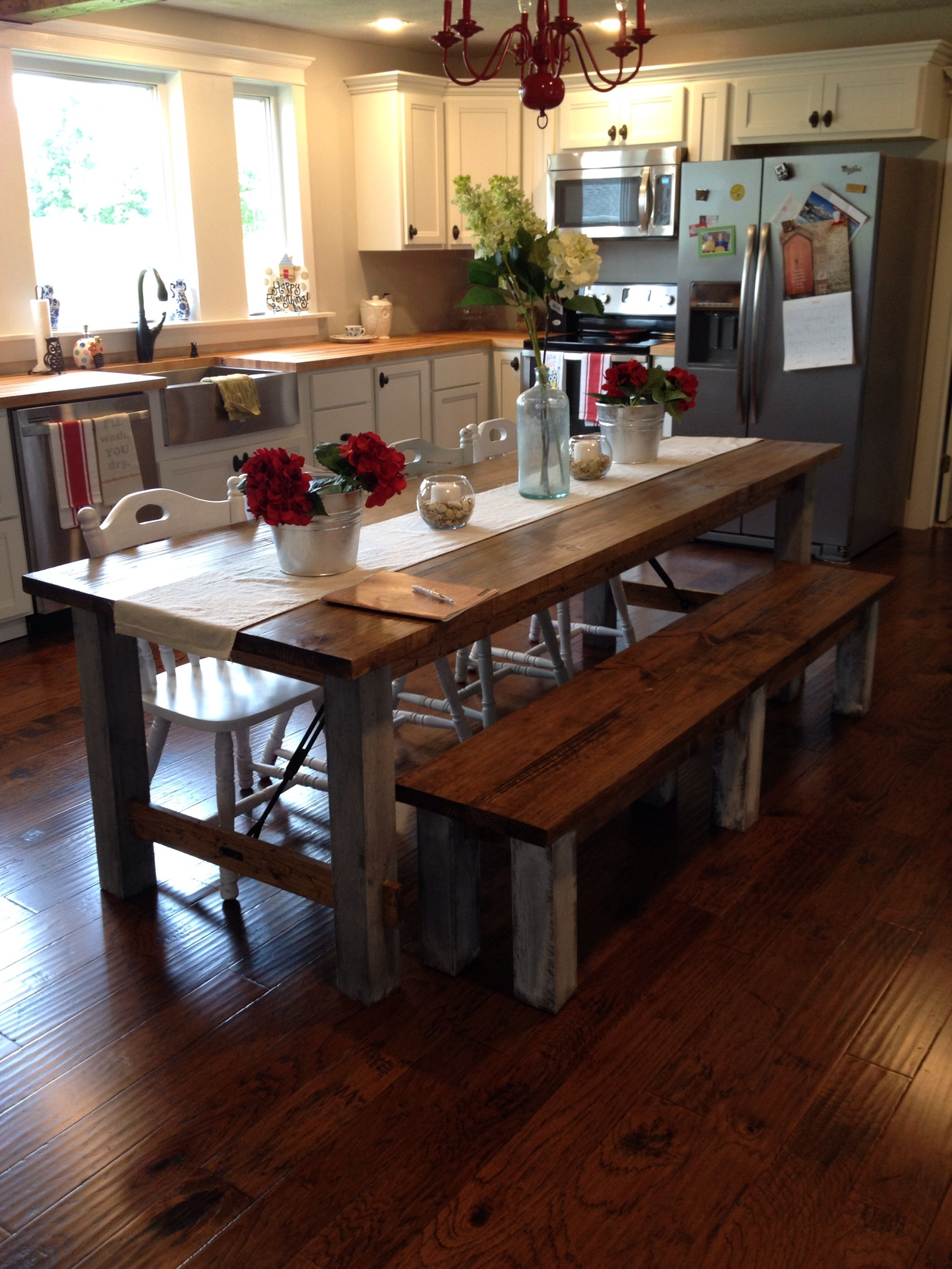 Shara at Chasing a Dream Shares her Farmhouse Kitchen Table for a Family of 2  ReFabbed
