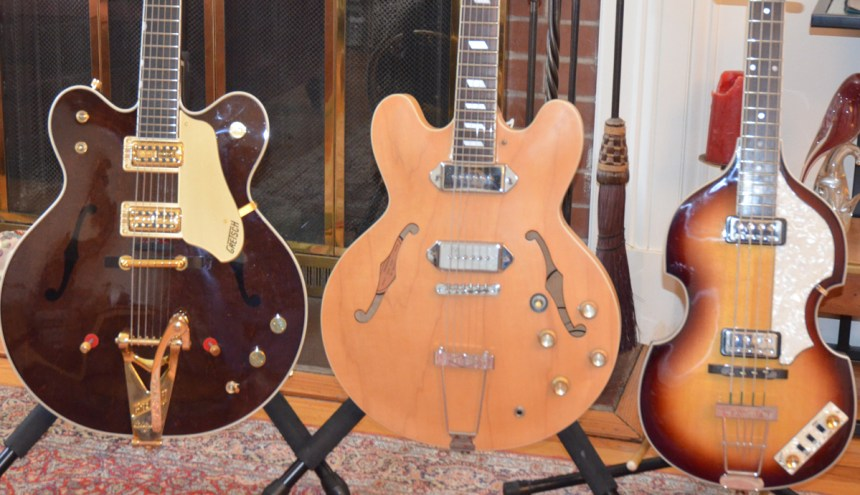 George's Gretsch Country Gentlemen - John's Epiphone Casino - Paul's Hofner Violin Bass