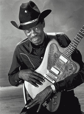 "Clarence ""Gatemouth"" Brown with ""non-reverse"" Gibson Firebird"
