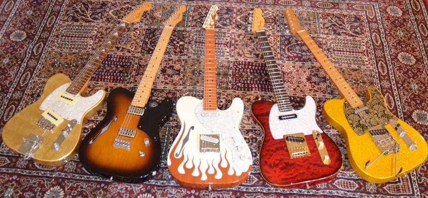 Will Ray Jazz-A-Caster, MIM Carbonita Thinline, MIM Limited Flame Thinline, Custom Charlie Christian pickup, MIM Vegas Gold Baja B/G Bender Telecasters