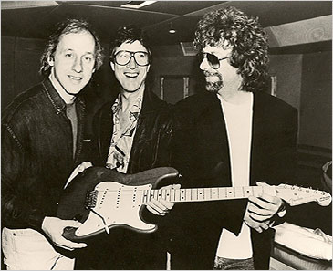 "Mark Knopfler, Hank Marvin and Jeff Lynne  at the Abbey Road studios in London during the recording  ""Wonderful Land"""