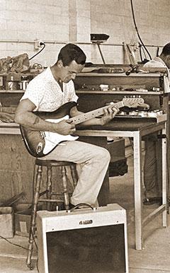 Freddie Tavares with Fender Stratocaster