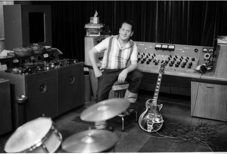 Les Paul in his studio that was in the basement in his home in Mahwah, NJ