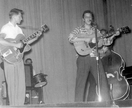 Scotty with Gibson L5, D.J., Elvis with 1951 Epiphone and Bill in Texarkana, AR 1955