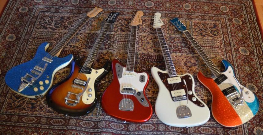 Surf Guitars L to R: 1999 Danelectro Hodad, 2016 Danelectro 64, 2012 Fender AVRI '65 Jaguar, 2016 Fender AVRI '65 Jazzmaster and 2016 Hallmark 60 Custom