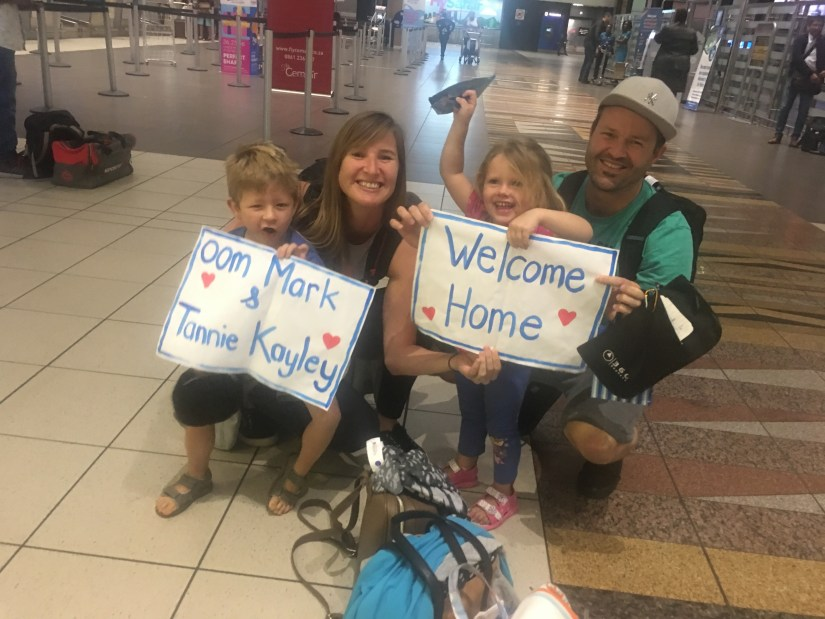 catch up, welcome home, South Africa