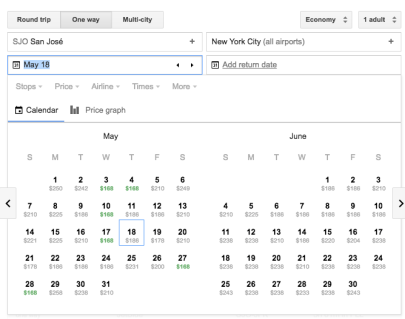 Google Flights - Month View