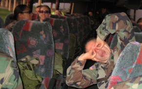 Forever long bus rides need something to liven them up. 2005-prepping for Iraq