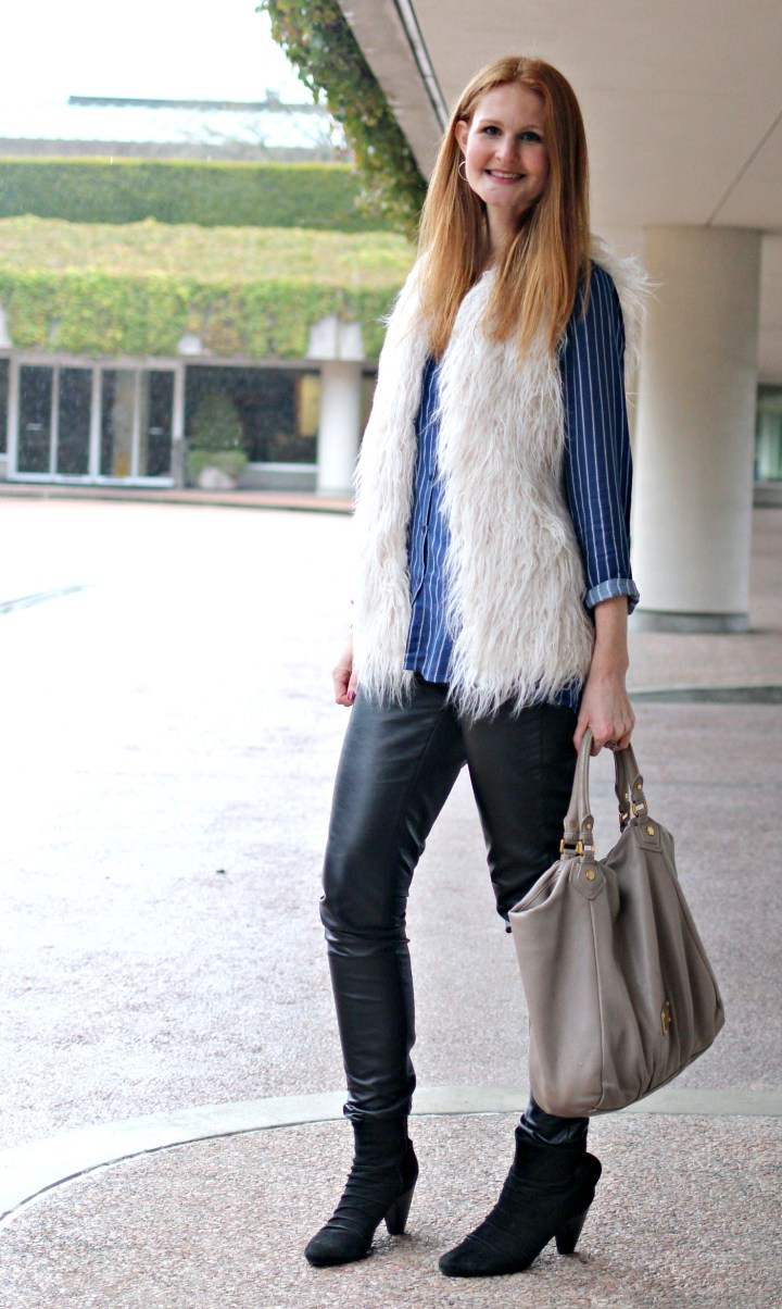 Wearing A Faux Fur Vest Into Spring