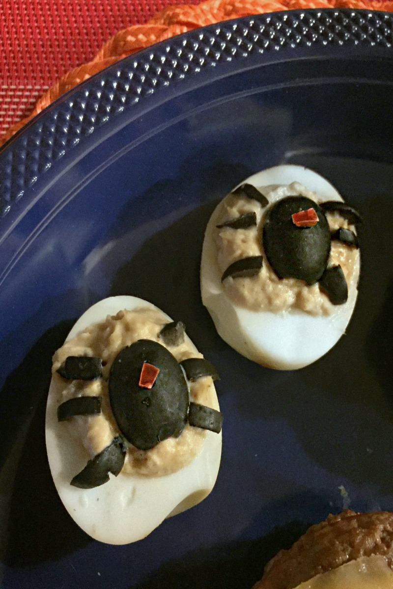 Black Widow Spidered Deviled Eggs