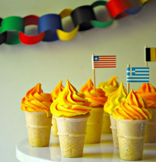 Olympic Torch Cupcake Cones