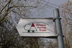 Wrekin Forest Trails' sign with symbol of two trees