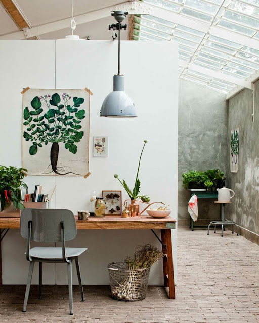 angolo studio con stampe botaniche