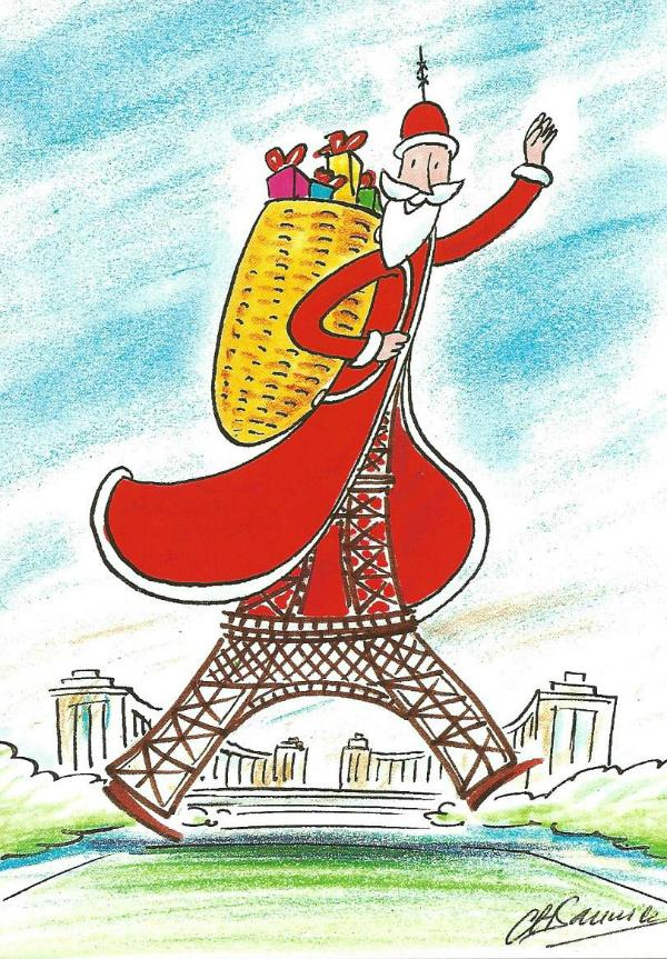 Eiffel Tower dressed as Santa