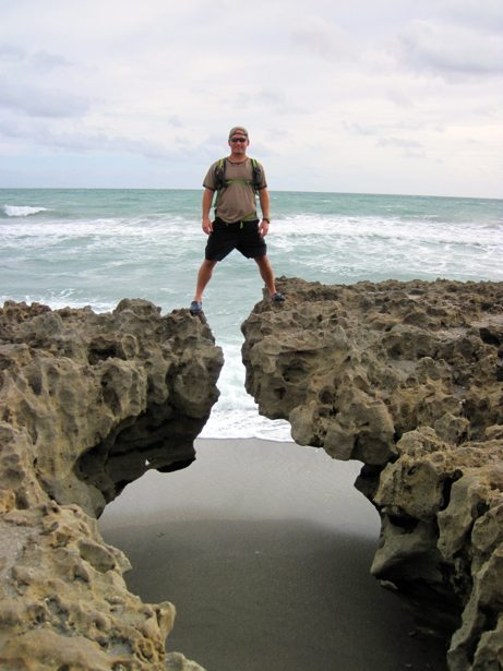 tim over beach rocks