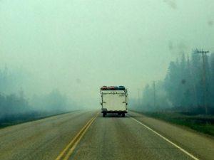 into the smoke...