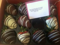 yummy chocolate-covered strawberries from the girls