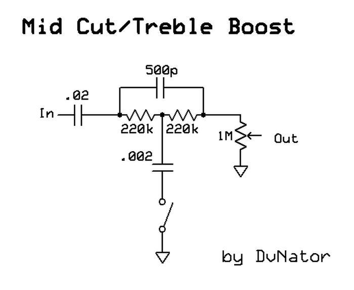 Mid Cut/Treble Boost Switch