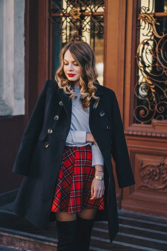 black-coat-red-plaid-skirt-over-the-knee-boots-winter-outfit-1
