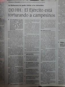 Luego de los enfrentamientos del 9 de abril se denuncia la tortura contra campesinos (La Prensa, abril del 2000)