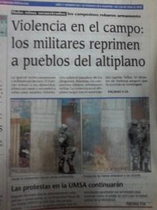 Pueblos enteros son reprimidos por el ejército en el altiplano (La Prensa, abril del 2000)