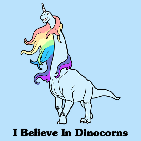 """""""I believe in dinocorns"""" tee design by Raven Amos. Featured an illustrated Brachiosaurus with a horn on its head and flowing, rainbow-colored mane."""