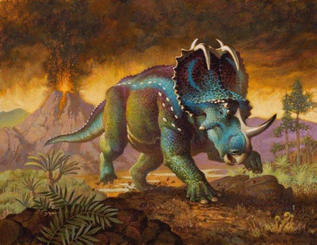 Monoclonius illustration by Ezra Tucker, from the Beasts of the Mesozoic figure box art
