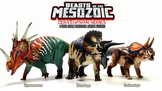 Beasts of the Mesozoic ceratopsians title card featuring Styracosaurus, Triceratops, and Zuniceratops figures