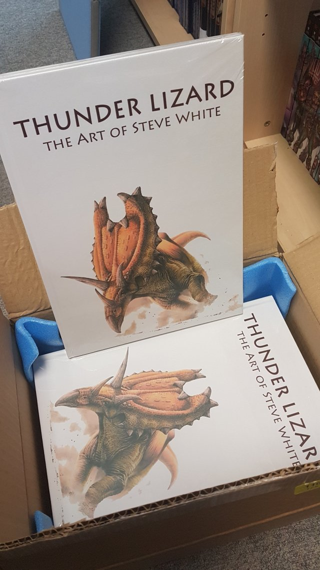 "A box of Steve White's ""Thunder Lizard"" book"
